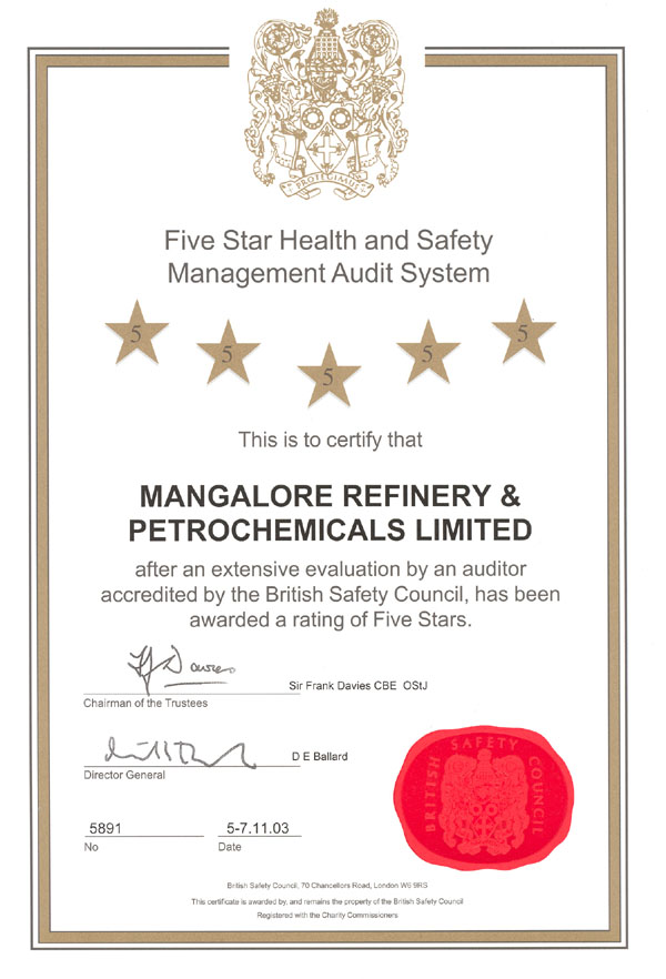 Health And Safety Mangalore Refinery And Petrochemicals Limited