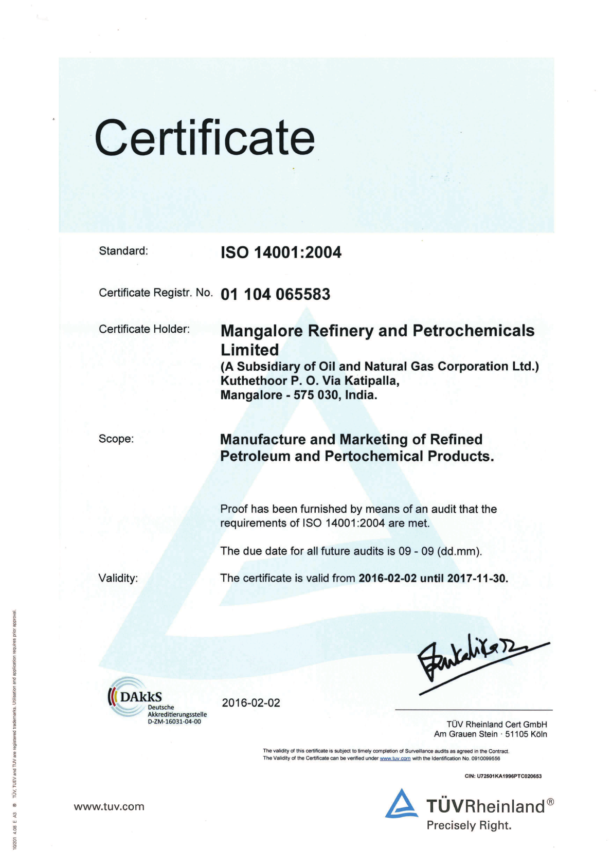 ISO 14001 | Mangalore Refinery and Petrochemicals Limited